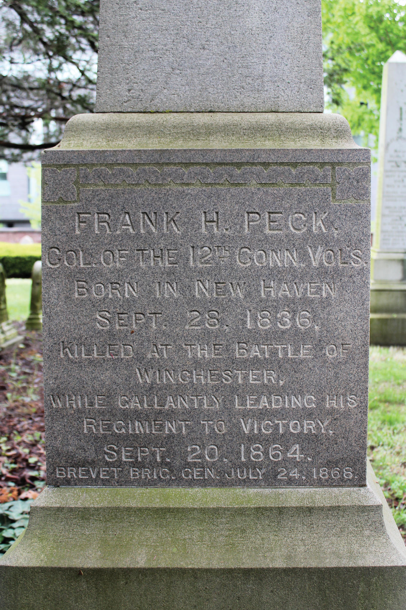 "<span><span style=""background-color:transparent"">Born in New Haven and graduated from Yale in 1856. He was appointed a major in the 12th Connecticut Volunteer Infantry and rose to Colonel. Peck was killed in action at the Third Battle of Winchester on September 19, 1864. He was posthumously breveted to Brigadier General of U.S. Volunteers for ""conspicuous gallantry at Winchester, Virginia.""</span></span><span><span style=""background-color:transparent"">Location: 77 Cedar</span></span>"